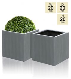 20cm Polystone Grey Cube Pot – Set of 2