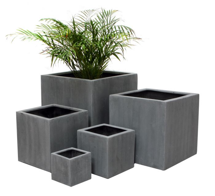 Grey Polystone Cube Planter - Mixed Set of 3 H40cm/H30cm/H20cm