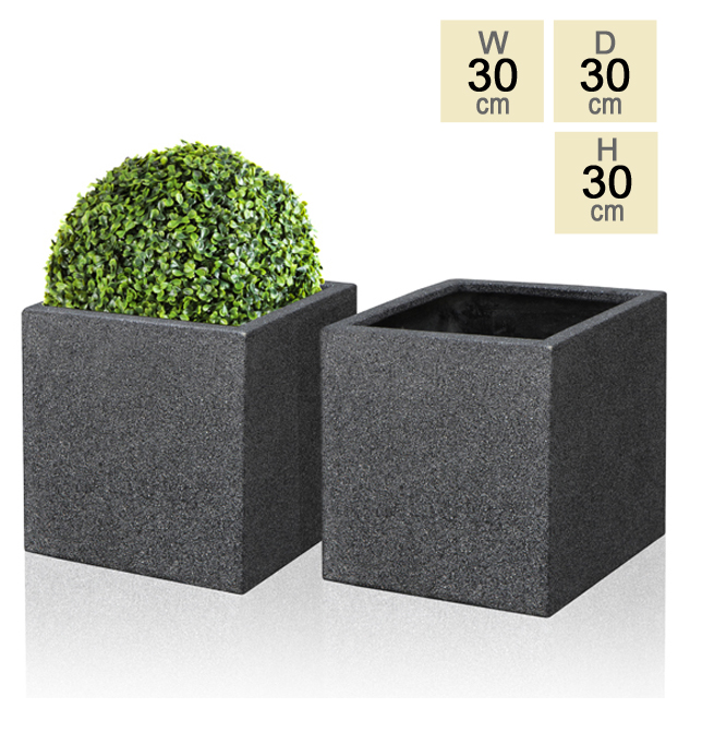 30cm Poly-Terrazzo Black Cube Pot – Set of 2