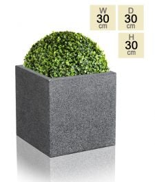 30cm Poly-Terrazzo Medium Black Cube Pot