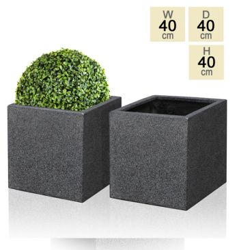 Black Poly-Terrazzo Cube Planter  H40cm – Set of 2