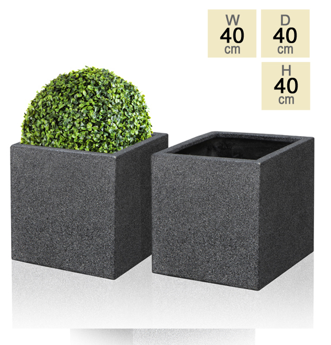 40cm Poly-Terrazzo Black Cube Planter – Set of 2