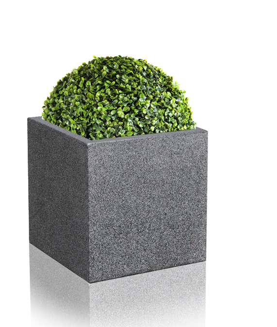 40cm Poly-Terrazzo Large Black Cube Planter