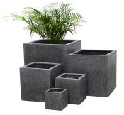 Black Poly-Terrazzo Cube Planter – Mixed Set of 3 H63cm/H52cm/H40cm