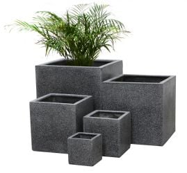 Poly-Terrazzo Black Cube Planter – Mixed Set of 3 - H63cm/H52cm/H40cm