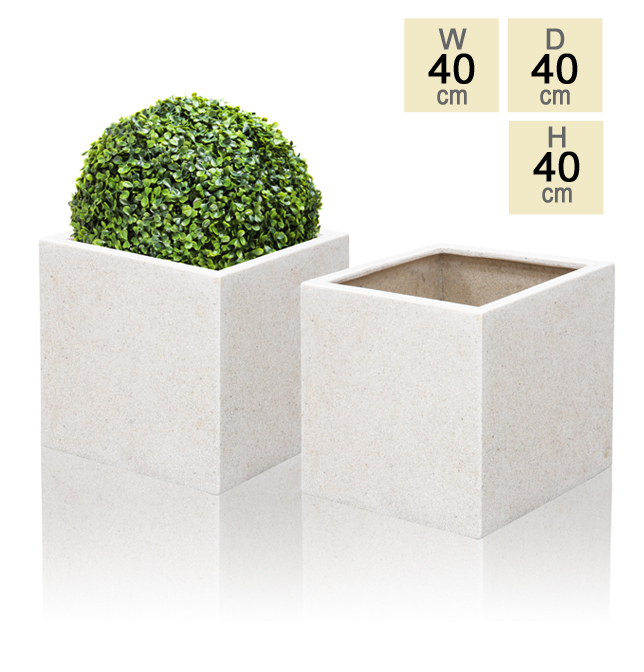 40cm Poly-Terrazzo White Cube Planter – Set of 2