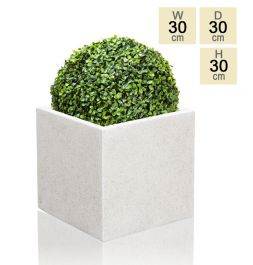 30cm Poly-Terrazzo White Medium Cube Pot