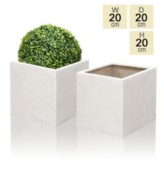 20cm Poly-Terrazzo White Cube Pot – Set of 2