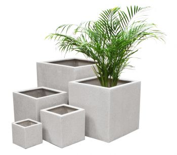 White Poly-Terrazzo Cube Planter – Mixed Set of 3 H40cm/H30cm/H20cm