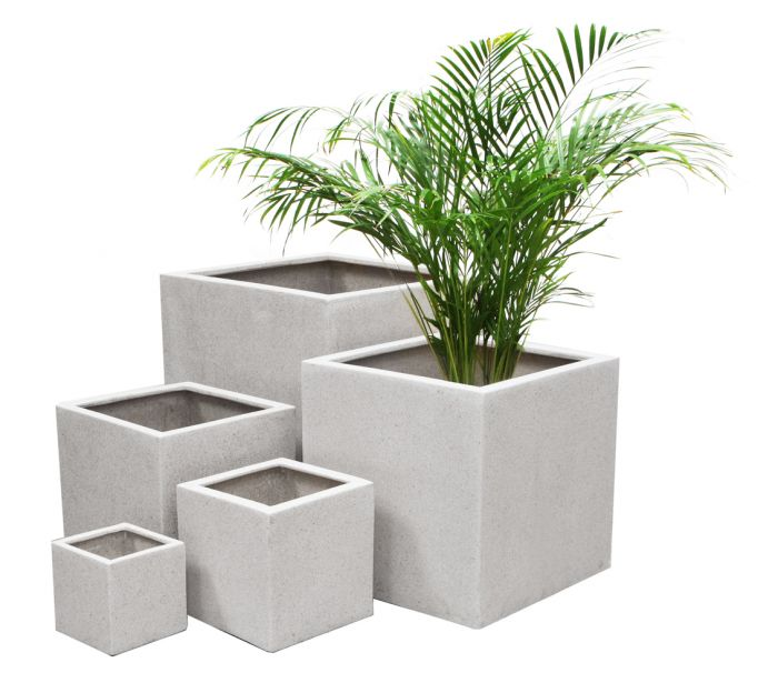 White Poly-Terrazzo Cube Planter – Mixed Set of 3 H63cm/H52cm/H40cm