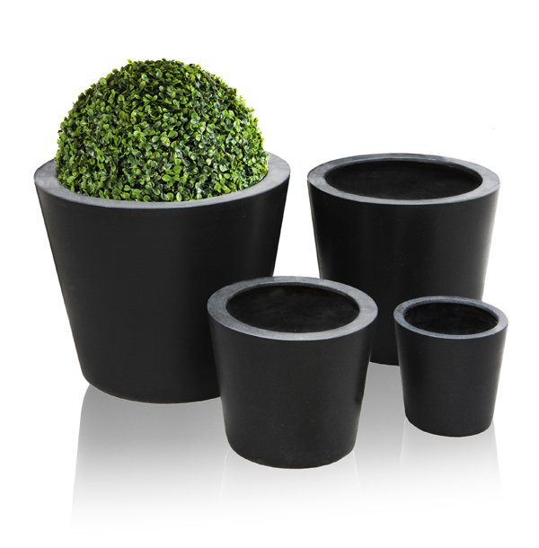 Polystone Black Round Planters – Mixed Set of 4 - D70/60/50/40cm