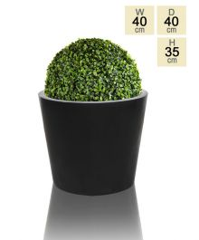 40cm Polystone Medium Black Round Planter
