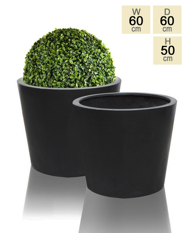60cm Polystone Black Round Planter – Set of 2
