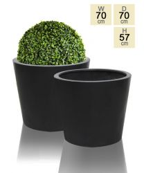70cm Polystone Black Round Planter - Set of 2