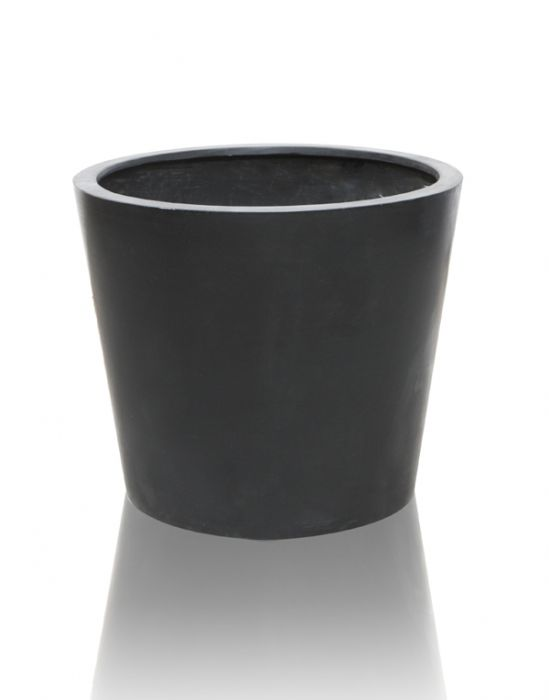 40cm Polystone Black Round Planter – Set of 2