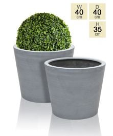 40cm Polystone Grey Round Planters – Set of 2