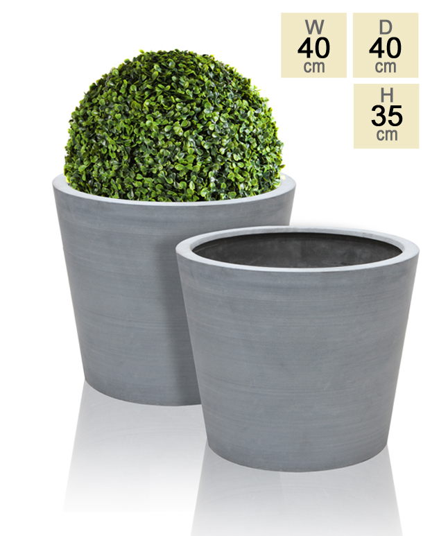 Grey Polystone Round Planter – Set of 2 - H35cm x D40cm