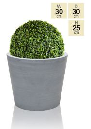 30cm Polystone Small Grey Round Pot