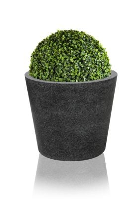 Poly-Terrazzo Round Planter - Black - Medium H35cm x 40cm - 52 Litres