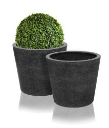 Black Poly-Terrazzo Round Planter - Set of 2 - H57cm x D70cm
