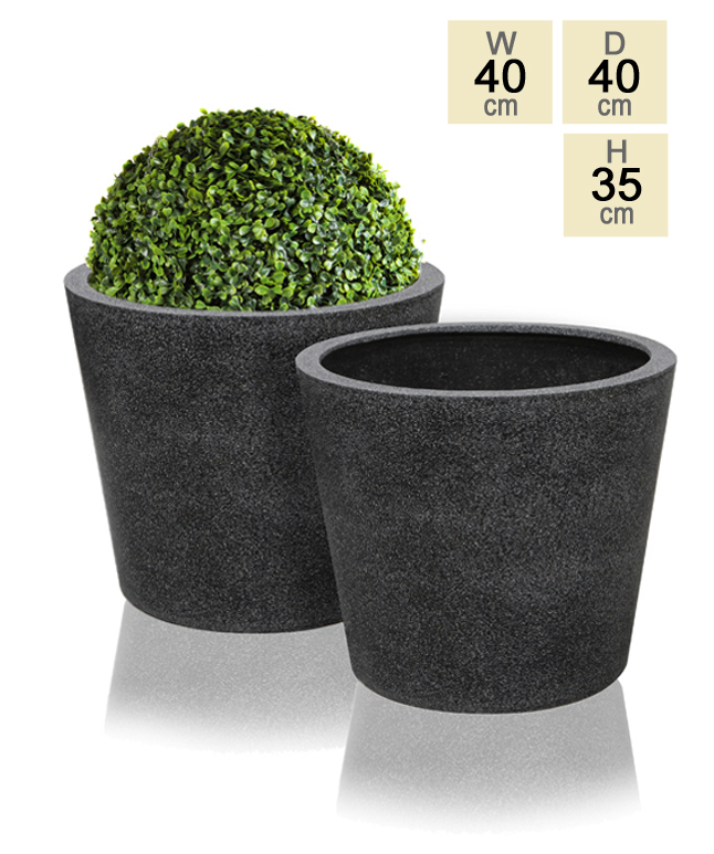 40cm Poly-Terrazzo Black Round Planter - Set of 2