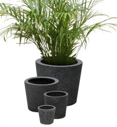 Black Poly-Terrazzo Round Planter H20cm x D21cm - Set of 2