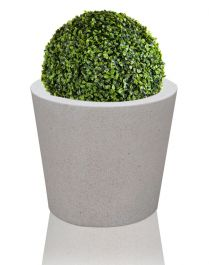40cm Poly-Terrazzo White Medium Round Planter