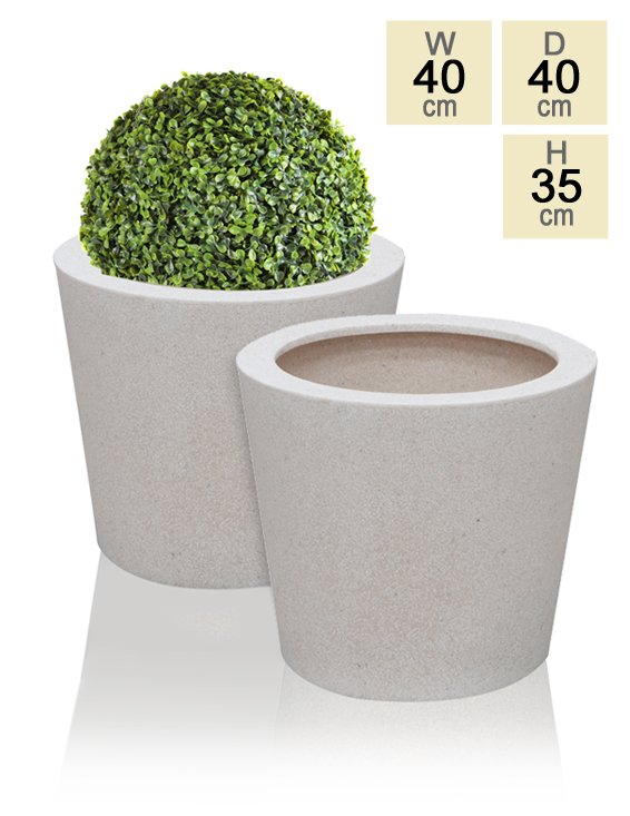 40cm Poly-Terrazzo White Round Planter - Set of 2