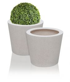 60cm Poly-Terrazzo White Round Planter - Set of 2