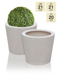 White Poly-Terrazzo Round Planter H20cm x D21cm - Set of 2