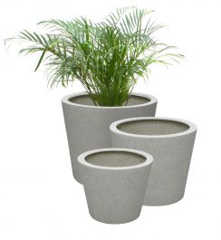 White Poly-Terrazzo Round Planter - Granda Mixed Set of 3