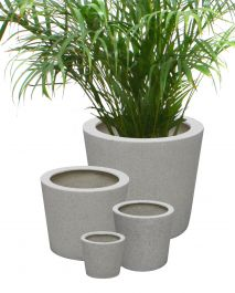 White Poly-Terrazzo Round Planter - Malpi Set of 3