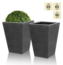 Black Poly-Terrazzo Tall Flared Square Planter - Set of 2 - H90cm x D65cm