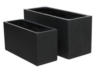 Black Polystone Trough Planter - Set of 2  L80cm/L100cm