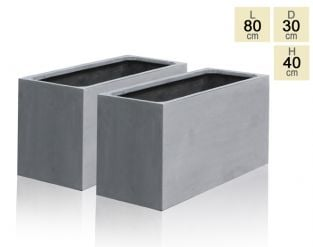 80cm Polystone Grey Trough Planter - Set of 2