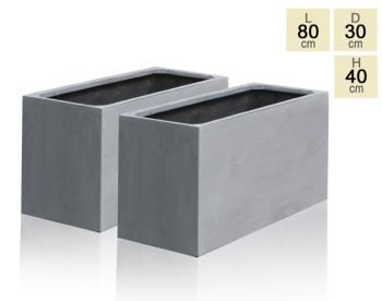 Grey Polystone Trough Planter - Set of 2 - H40cm x L80cm