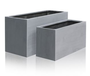 Grey Polystone Trough Planter -  Set of 2 L80cm/L100cm