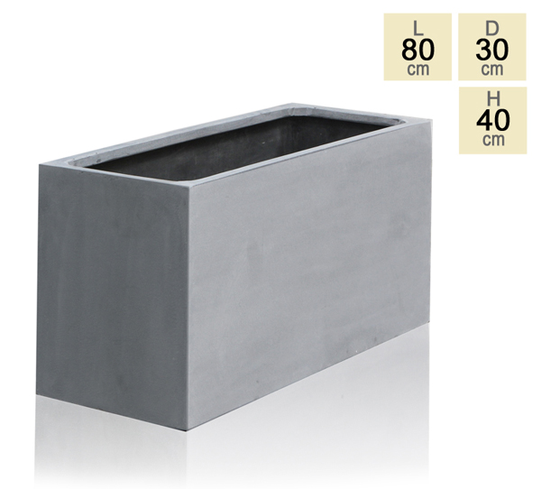 Grey Polystone Trough Planter - Small H40cm x L80cm - 90 Litre
