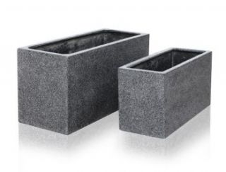 Black Poly-Terrazzo Trough Planter - Set of 2 - L80cm/L100cm