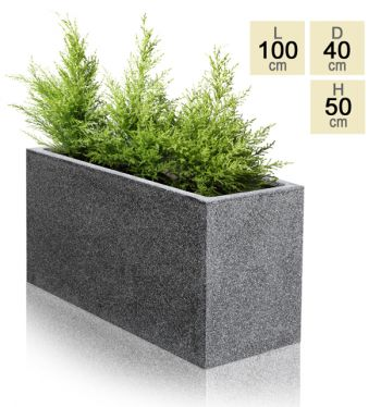 Poly-Terrazzo Trough Planter - Black - Large H50cm x L100cm - 185 Litre