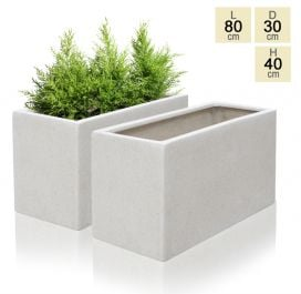 80cm Poly-Terrazzo  White Trough Planter - Set of 2