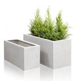 100cm Poly-Terrazzo White Trough Planter - Set of 2