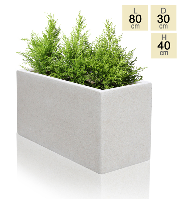 80cm Poly-Terrazzo Small White Trough Planter