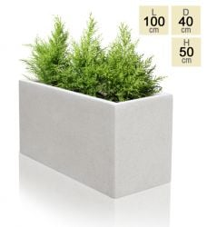 100cm Poly-Terrazzo Large White Trough Planter