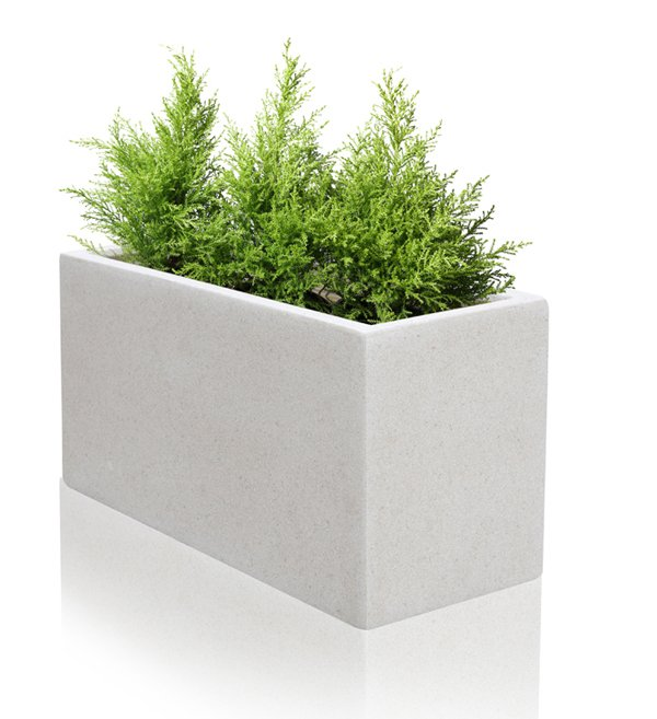 100cm Poly Terrazzo White Trough Planter Set Of 2 163 249 99