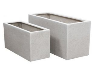 White Poly-Terrazzo Trough Planter - Set of 2 - L80cm/L100cm