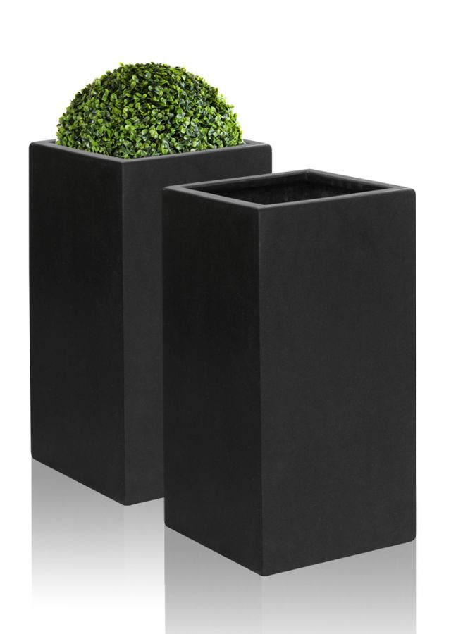 60cm Polystone Small Black Tall Cube Planter