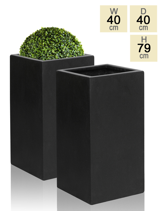 79cm Polystone Black Tall Cube Planter - Set of 2