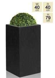 79cm Polystone Large Black Tall Cube Planter