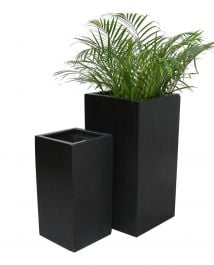 Black Polystone Tall Cube Planter - Mixed Set of 2 - H60cm/H79cm
